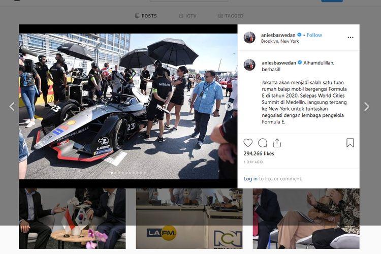 Gubernur DKI Jakarta Anies Baswedan mengumumkan Jakarta akan menjadi tuan rumah Formula E 2020 melalui akun instagramnya.