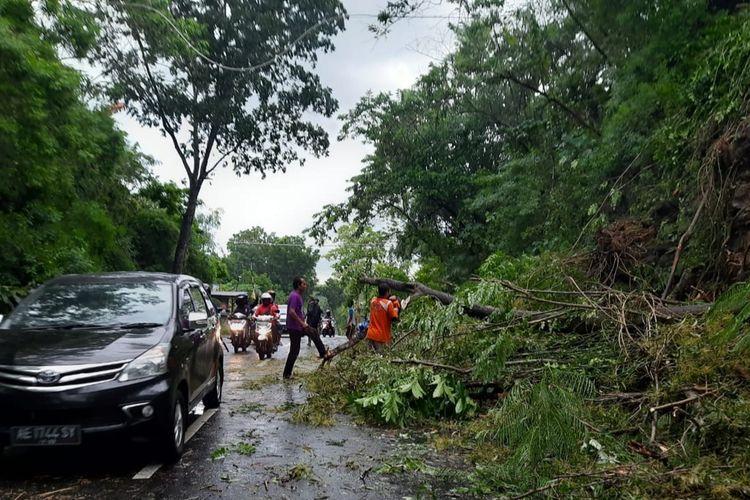 POTONG POHON—Petugas BPBD Kabupaten Wonogiri memotong pohon yang tumbang menutup ruas jalan Wonogiri-Baturetno setelah hujan deras disertai angin kencang melanda wilayah tersebut, Minggu (31/1/2021)