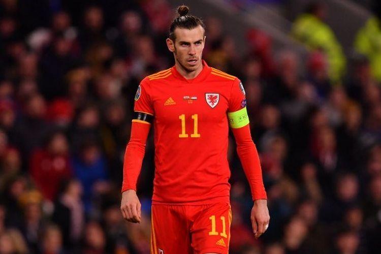 Penyerang Timnas Wales, Gareth Bale, saat tampil pada pertandingan Grup E Kualifkasi Euro 2020 antara Wales vs Hungaria di Cardiff City Stadium, Wales, pada 19 November 2019.