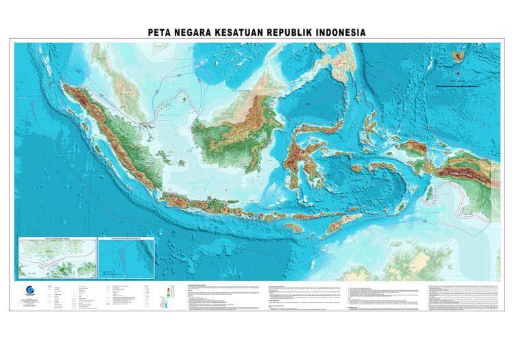 Peta terbaru Indonesia yang diluncurkan pada 2017 oleh Badan Informasi Geospasial