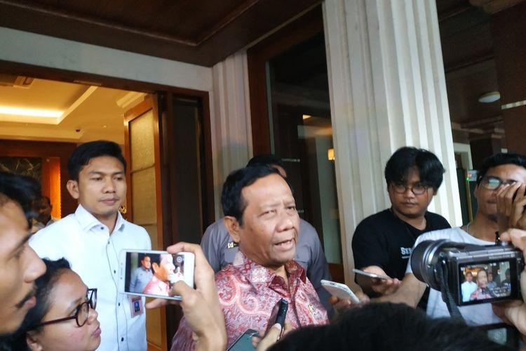 Menko Polhukam Mahfud MD di Kantor Kemenko Polhukam, Jakarta Pusat, Kamis (12/2/2020).