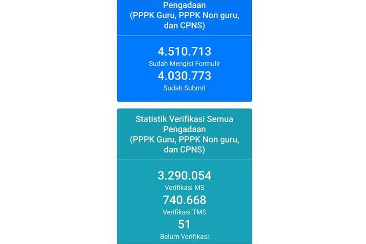 Tangkapan layar data pelamar CASN (CPNS dan CPPPK)