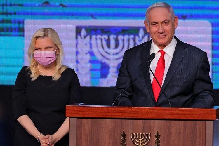 Perdana Menteri Israel Benjamin Netanyahu berpidato di depan pendukungnya di markas Partai Likud di Jerusalem, Rabu pagi (24/03/2021) menyikapi hasil pemilu Knesset Israel