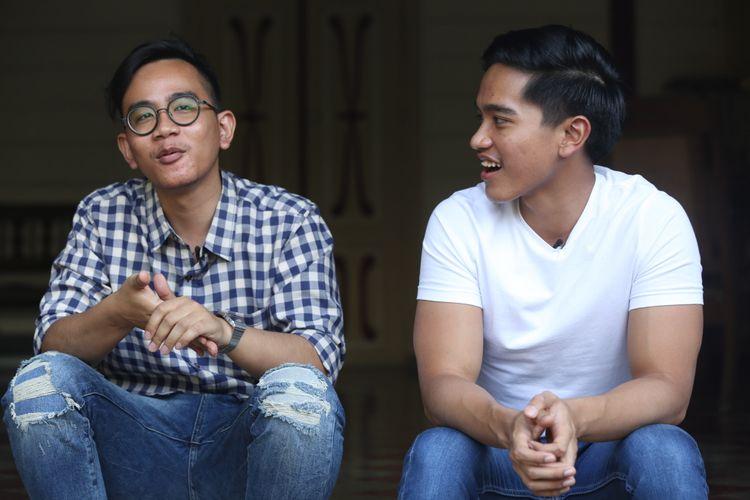 Gibran Rakabuming Raka dan Kaesang Pangarep, kedua putra Presiden Joko Widodo saat wawancara eksklusif dengan Kompas.com, di Solo, Jawa Tengah, Minggu (27/8/2017).