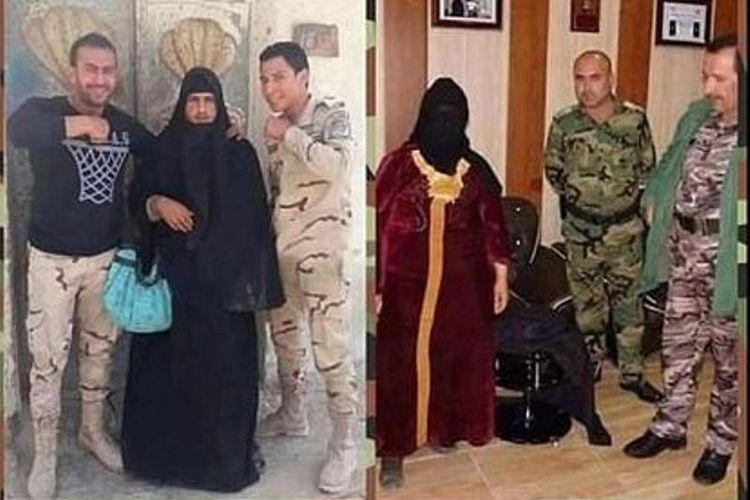 Tentara Irak memamerkan beberapa anggota ISIS yang menyamar sebagai perempuan tetapi tak berhasil lolos dari pemeriksaan tentara Irak.