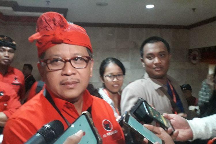 Sekretaris Jenderal Partai Demokrasi Indonesia Perjuangan Hasto Kristiyanto di sela-sela Kongres V PDI-P, Kamis (8/8/2019).