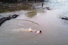 Dekati Ikan Raksasa yang Terdampar di Ciliwung, Warga Harus Berenang
