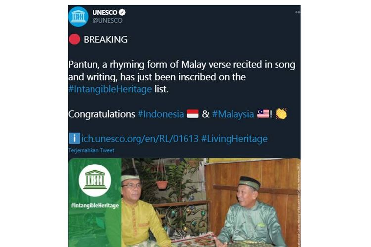 UNESCO announcement of Pantun as an Intangible Cultural Heritage on its Twitter account @UNESCO on Thursday, (17/12/2020)