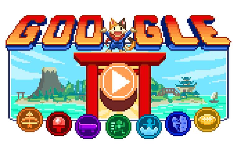 Doodle Google edisi Game Pulau Juara untuk menyambut Olimpiade Tokyo.
