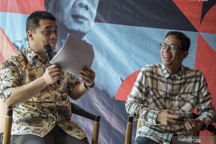 Calon Wakil Gubernur (Cawagub) DKI Jakarta dari Partai Gerindra, Ahmad Riza Patria (kiri) dan Cawagub DKI Jakarta dari PKS, Nurmansjah Lubis (kanan) menjadi pembicara dalam acara Ngobrol Bareng Cawagub DKI di Jakarta, Jumat (6/3/2020).