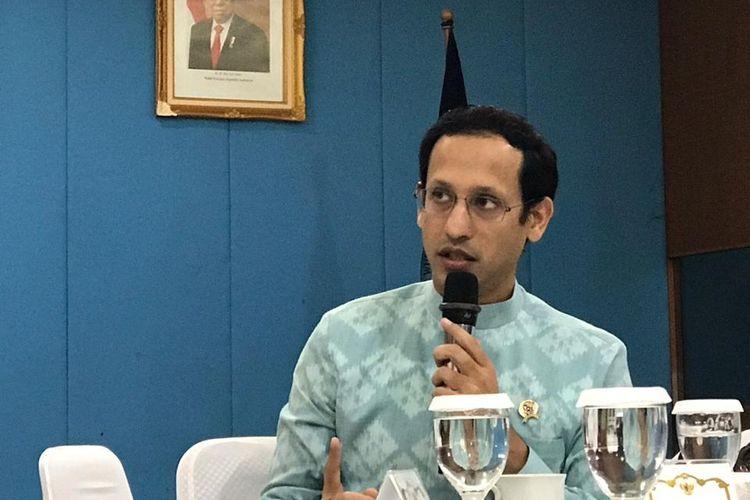 Mendikbud Nadiem Makarim dalam acara temu media di Kementerian Pendidikan dan Kebudayaan, Jakarta, Senin (23/12/2019).