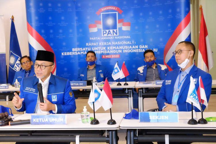 Ketua Umum PAN Zulkifli Hasan dalam Rakernas I PAN, Selasa (5/5/2020)