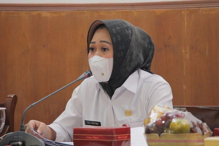 Bupati Purbalingga, Dyah Hayuning Pratiwi saat memimpin Musyawarah Perencanaan Pembangunan Jangka Menengah Daerah (Musrenbang RPJMD), Rabu (23/6/2021).