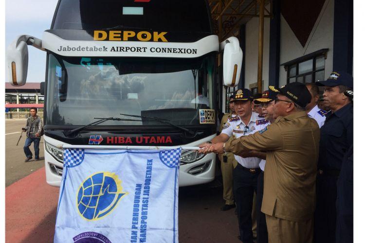 Peresmian Uji Coba Pengoperasian Terminal Jati Jajar, Depok, Senin (17/9/2018).
