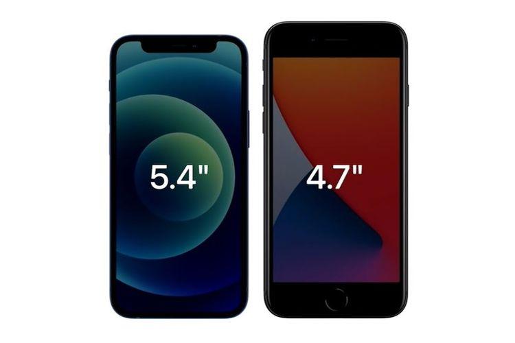 iPhone 12 mini (kiri) dan iPhone SE 2020 (kanan).