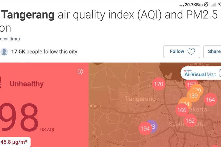 Bidik layar situs AirVisual, Senin (12/8/2019) pukul 08.30 pagi. Kualitas udara wilayah Tangerang Selatan