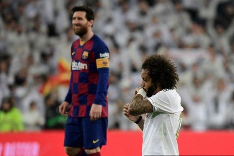 Marcelo dalam laga El Clasico Real Madrid vs Barcelona pada jornada ke-26 Liga Spanyol 2019-2020