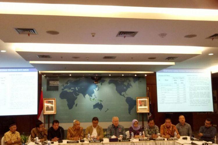 Konferensi Penetapan HET Beras di Kantor Kemendag Jakarta, Kamis (24/8/2017)