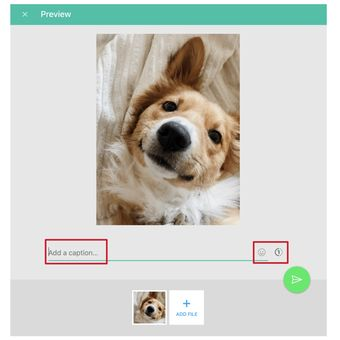 Tampilan lama jendela kirim foto di WhatsApp web dan desktop. Hanya bisa menambahkan caption dan emoji saja.