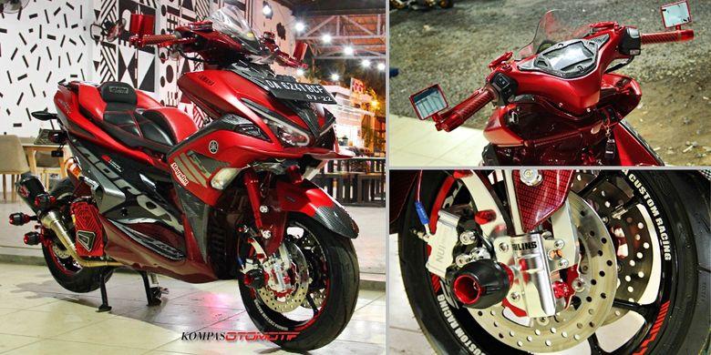 Modifikasi Yamaha Aerox 155, tampil leboh sporty dengan ubahan aksesori.