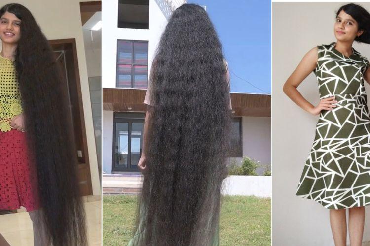 Foto kolase Nilanshi Patel (18), gadis remaja asal India yang memiliki rambut terpanjang di dunia kategori remaja versi Guinness World Record