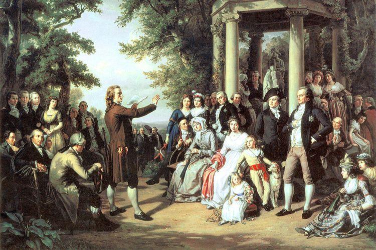 Lukisan Theobald von Oer yang menggambarkan penyair Jerman Schiller, Wieland, Herder dan Goethe, sebagai sebuah penghargaan untuk Abad Pencerahan dan Klasisisme Weimar.
