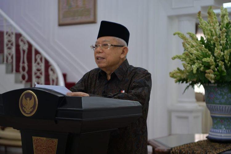 Wakil Presiden Maruf Amin dalam testimoni virtual Hari Batik Nasional di acara pagelaran Hybrid Fashion Show, Karisma Batik 2020: Bangga Pakai Batik, Jumat (2/10/2020).