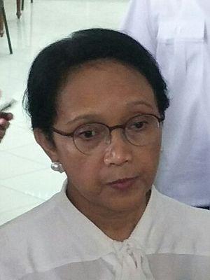 Menteri Luar Negeri Retno Marsudi di Istana Kepresidenan, Jakarta