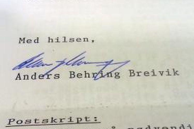 Inilah tanda tangan terpidana pembunuh massal Norwegia, Anders Breivik di akhir surat yang dikirimkannya ke kantor berita AFP. Dalam surat itu Breivik menuliskan sejumlah tuntutan, salah satunya meminta permainan PlayStation 3 di dalam selnya.