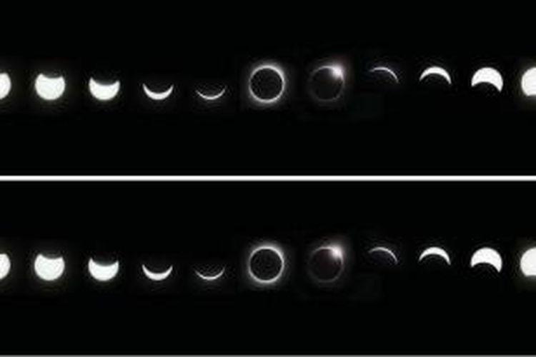 Kolase foto gerhana pada 22 Juli 2009, selang waktu dari foto terkiri sampai terkanan sekitar dua setengah jam. Foto diambil dari dilihat Kota Chongqing, China. Arsip Agatha Bunanta, pernah dimua di harian Kompas, 4/8/2009.