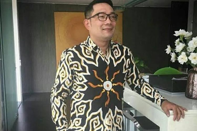 Gubernur Jawa Barat Ridwan Kamil saat mengenakan batik Iron Man atau Telor Ceplok hasil desain sendiri.