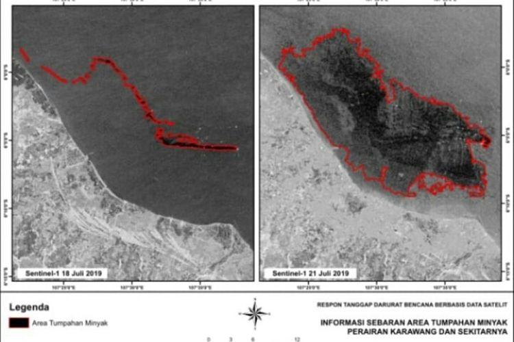 Foto Satelut Lapan sebaran area tumpahan minyak perairan Karawang dan sekitarnya.