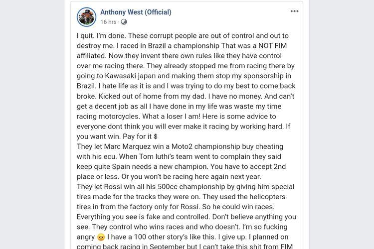 Anthony West sebut ada kecurangan yang dilakukan oleh FIM dan menuduh Rossi dan Marquez melakukan kecurangan.
