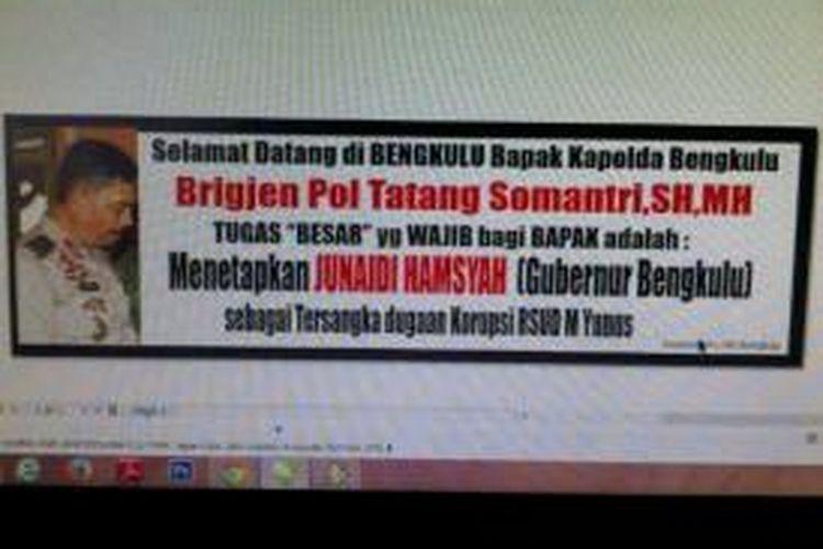beredar foto penyabutan Kapolda Bengkulu baru bertuliskan agar Gubernur Junaidi Hamsyah ditetapkan sebagai tersangka