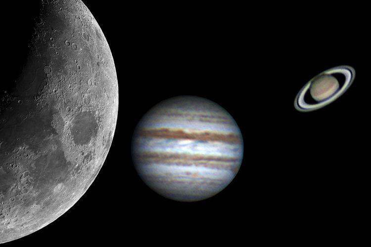 Ilustrasi fenomena langit triple konjungsi, teleskop menangkap penampakan bulan, jupiter, dan saturnus akan tampak di langit Indonesia pekan ini.