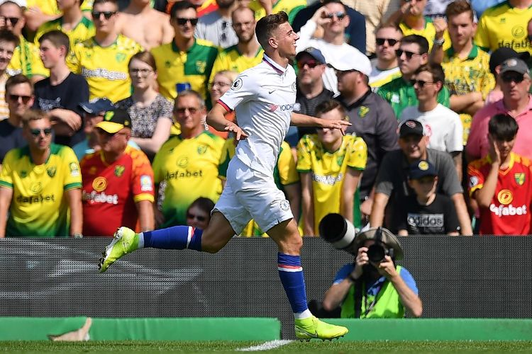 Mason Mount mencetak gol pada laga Norwich City vs Chelsea pada lanjutan Liga Inggris di Stadion Carrow Road, Sabtu (24/8/2019).