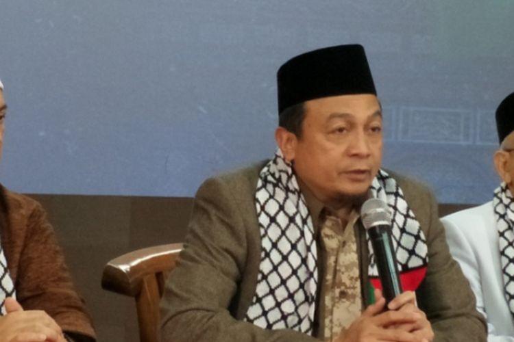Ketua Gerakan Nasional Pengawal Fatwa Majelis Ulama Indonesia (GNPF-MUI), Bachtiar Nasir saat menggelar konferensi pers aksi bela Palestina, Sabtu (16/12/2017).