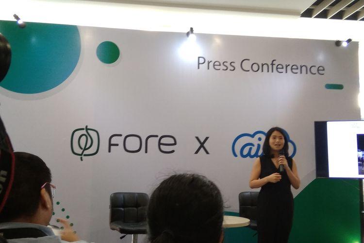 Elisa Suteja, Co-Founder Fore Coffee saat memberikan kata sambutan di Jakarta, Rabu (20/11/2019).