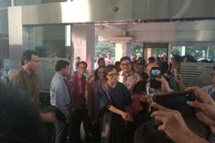 Menteri Keuangan Sri Mulyani saat menginjakkan kakinya di Kantor Kementerian Keuangan,