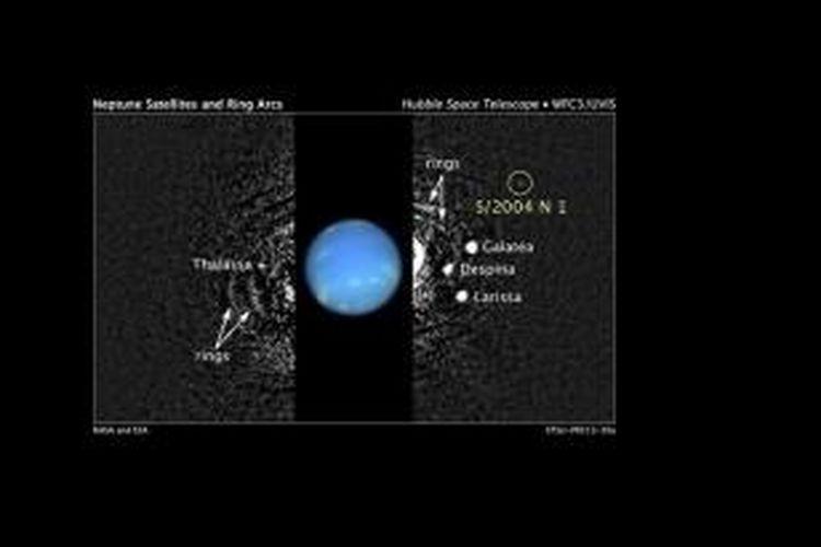 Ilustrasi letak S/2004 N 1, bulan baru Neptunus, dalam sistem planet terjauh di Tata Surya itu.