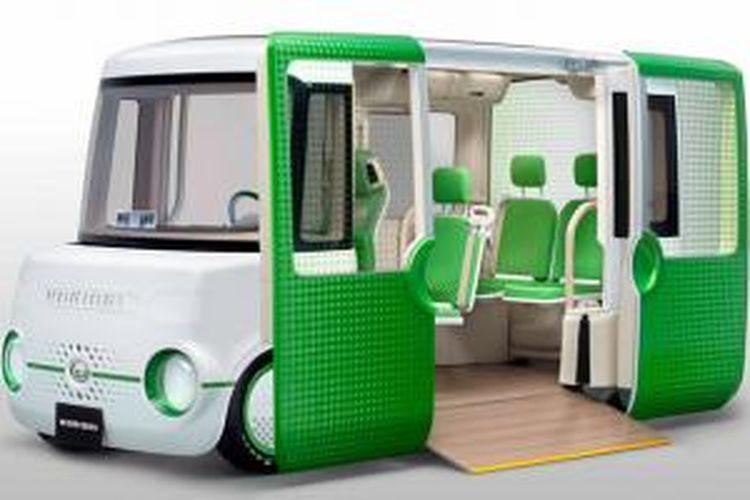 Dihatsu Nori Ori, didesain dengan ruang yang lega dan lantai rendah untuk akses keluar-masuk pengguna kursi roda.