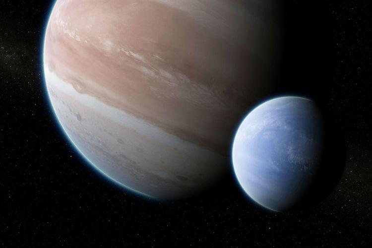 Ilustrasi Kepler 1625b dengan bulannya