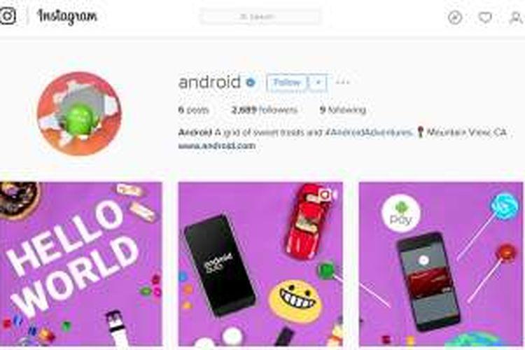 Akun Instagram resmi Android.