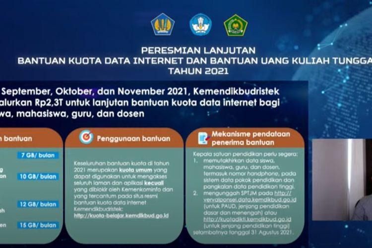 Mendikbud Ristek Nadiem Makarim saat memaparkan rencana bantuan kuota gratis internet periode September hingga November 2021.