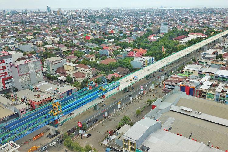 Tol Layang AP Pettarani masuki tahap akhir pemasangan balok jembatan, Minggu (17/5/2020).