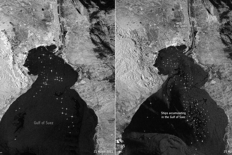 Citra satelit Badan Antariksa Eropa menunjukkan lalu lintas maritim rutin pada Minggu (21/3/2021) di Terusan Suez pada (kiri) dan lalu lintas maritim pada Kamis (25/3/2021) di kanal (kanan).