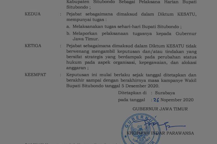Gubernur Jawa Timur Khofifah Indar Parawansa menunjuk Sekda Syaifullah sebagai Plh bupati Situbondo