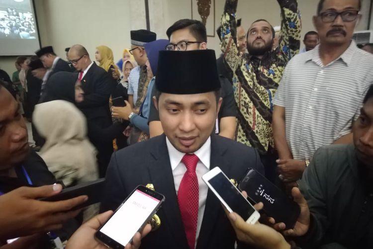 Bupati Penajam Paser Utara (PPU) Abdul Gafur Masud saat diwawancara awak media di Kantor DPRD Kaltim, Samarinda, Senin (2/9/2019).