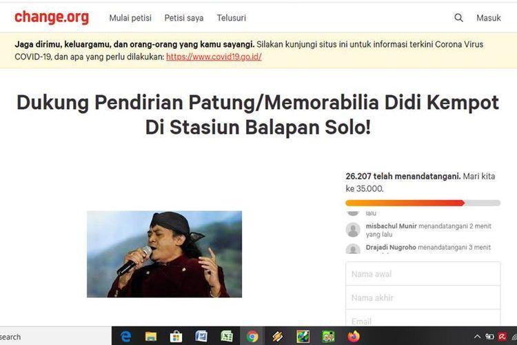 Tangkapan layar Petisi Didi Kempot di change.org