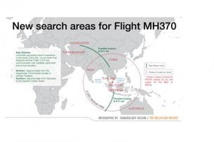 Dua koridor pencarian Malaysia Airlines MH370